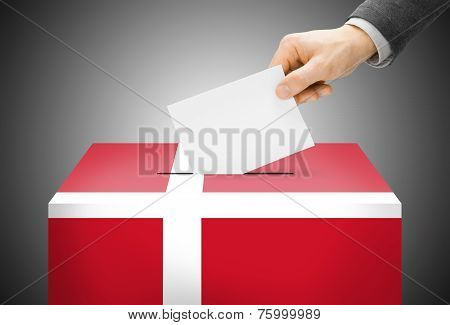 Voting Concept - Ballot Box Painted Into National Flag Colors - Denmark