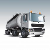 stock photo of tank truck  - Tank truck and fuel tanks - JPG