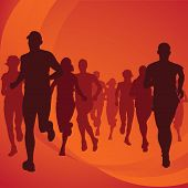picture of street-art  - Running people silhouettes isolated on background - JPG