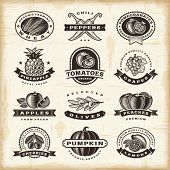 picture of food label  - Vintage fruits and vegetables labels set - JPG