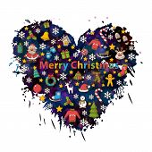 image of santa sleigh  - Merry Christmas  in the form of heart background with colorful blots - JPG