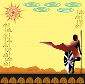 image of spears  - warriors with spear and shield on the background of the desert - JPG