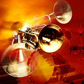 stock photo of musical instruments  - abstract jazz rock background classical musical instruments - JPG