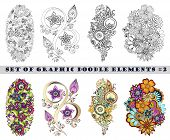 picture of mehndi  - Set of Henna Paisley Mehndi Doodles Abstract Floral Vector Illustration Design Element - JPG