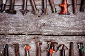 image of drill bit  - different types of drill bits on old wood background - JPG