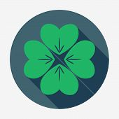 picture of four leaf clover  - Flat style icon with long shadow - JPG