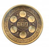 stock photo of seder  - Vintage Passover Seder Plate isolated on white - JPG