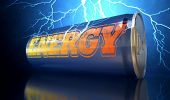 picture of lightning  - A blue energy drink shaped tin can with the word energy written on it on an electric lightning storm background - JPG