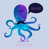 pic of mustache  - postcard with cute octopus - JPG