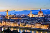 stock photo of landscape architecture  - View of Florence after sunset from Piazzale Michelangelo - JPG