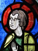 Medieval stained glass window, St Peter poster