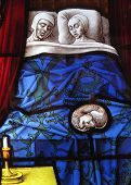 Medieval stained glass married couple sleeping poster