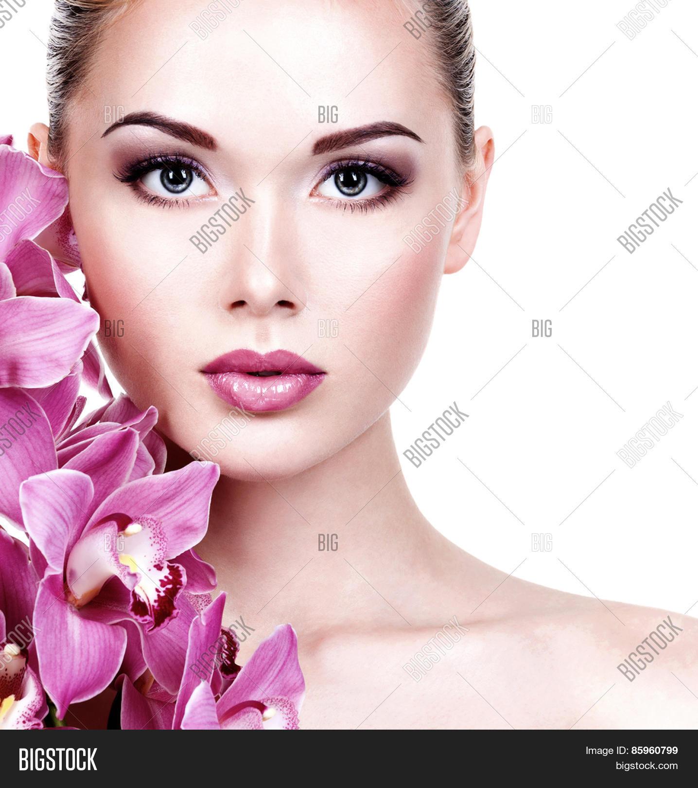 Lipstick Pretty Girl Faces: Closeup Face Young Beautiful Woman Image & Photo