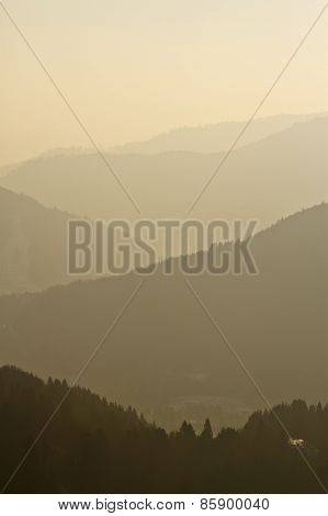foggy and misty landscape of Vosges mountains, France