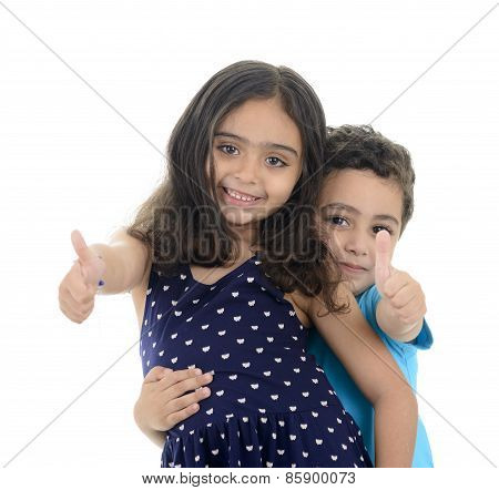 Thumb Up Little Boy And Girl