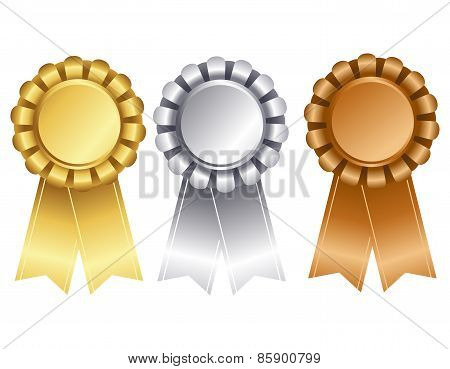 Gold Silver And Bronze Award Ribbon