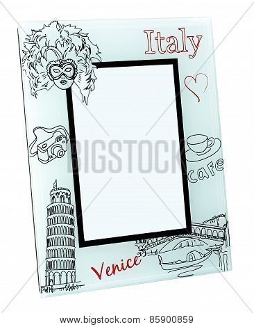 Beige photo frame with drawings and red words Italy, Venice. Isolated place for your picture