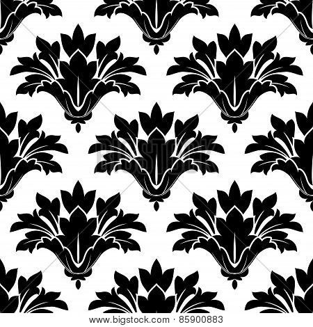 Black arabesque floral seamless pattern