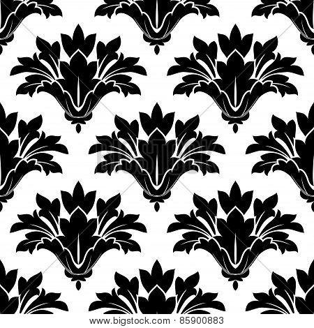 Black arabesque floral seamless pattern