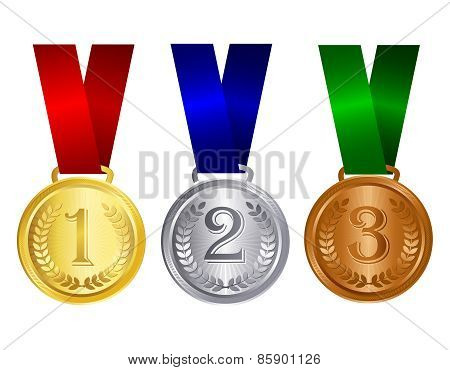 Gold Silver And Bronze Medal With Ribbon