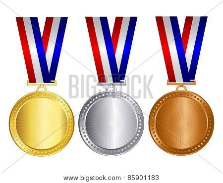 Blank Gold Silver And Bronze Medal