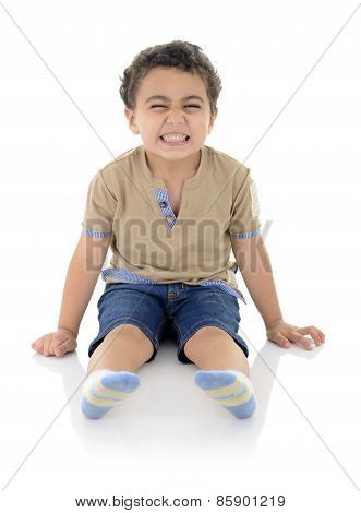 Funny Laughing Boy Sitting