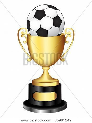Gold Trophy With Soccer Ball
