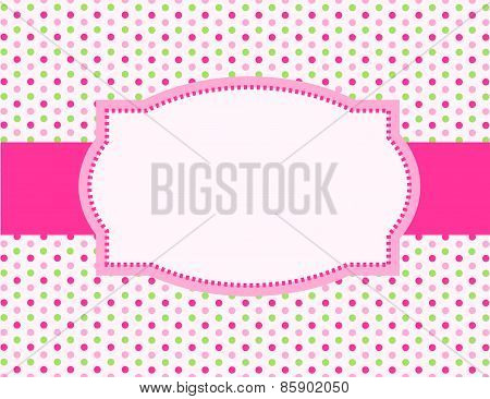 Pink Polka Dotted Background With Frame
