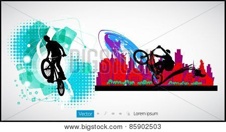 Vector image of  cyclist