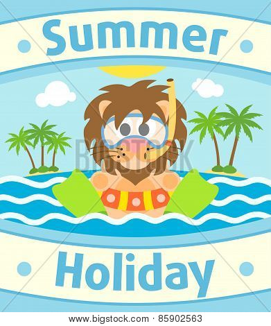 Summer sea background with lion