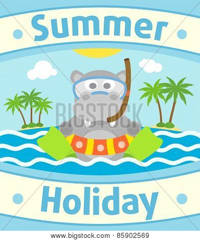 Summer sea background with hippopotamus