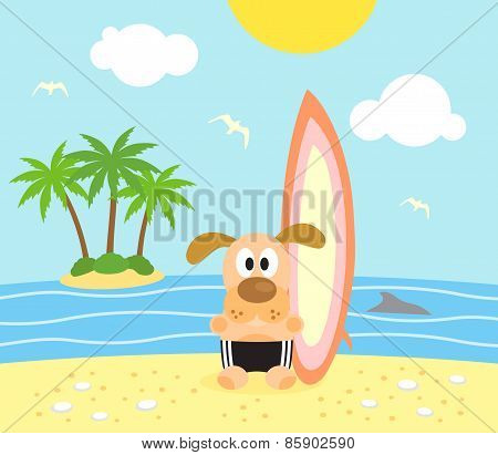 Summer background with funny  dog surfer