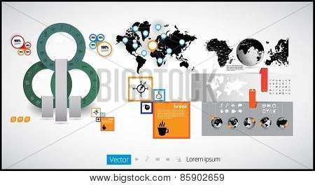 infographic vector illustration. World Map and Information Graphics