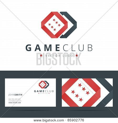 Game club or casino logo template with business card.
