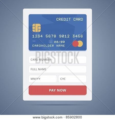 Payment application form with credit card illustration in flat s