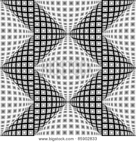 Design Seamless Monochrome Warped Zigzag Pattern