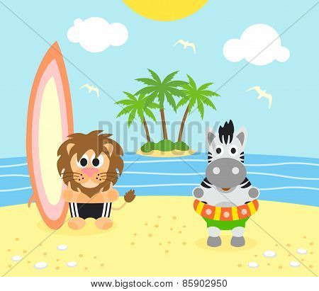 Summer Background With Lion And Zebra On The Beach
