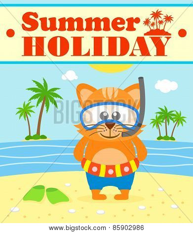Summer Holiday Background With Cat