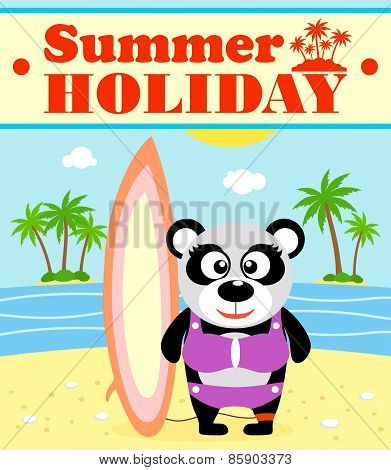 Summer holiday background with panda