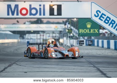 Sebring, FL - Mar 19, 2015:  The RSR Racing Oreca FLM09 Chevrolet races through the turns 12 Hours of Sebring at Sebring Raceway in Sebring, FL.