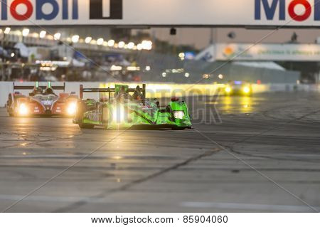 Sebring, FL - Mar 19, 2015:  The Extreme Motorsports Honda HDP ARX Honda car races through the turns at 12 Hours of Sebring at Sebring Raceway in Sebring, FL.