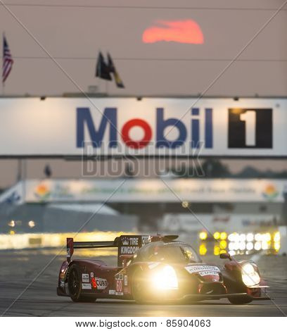 Sebring, FL - Mar 19, 2015:  The Michael Shank Racing with Curb Agajanian Riley DP Ford Ecoboost races through the turns at 12 Hours of Sebring at Sebring Raceway in Sebring, FL.