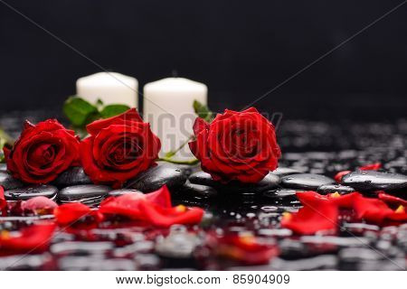 Three Red rose ,candle and wet stones