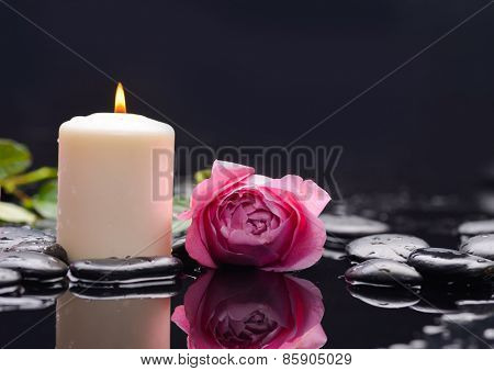 Lying down rose with petals and candle with therapy stones