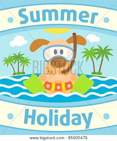 Summer sea background with dog