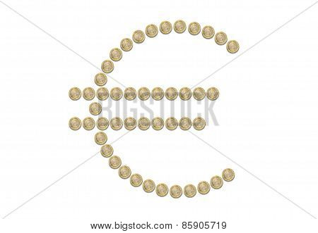 Euro Sign Symbol Coins Isolated