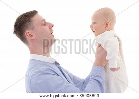 Young Father Holding His Little Son Isolated On White