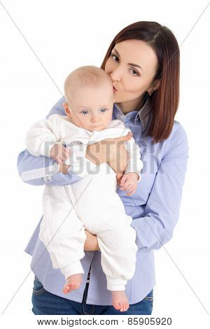 Young Mother And Son Isolated On White