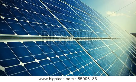 Closeup Of Photovoltaic Solar Panels