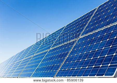 Row Of Solar Panels And Clear Sky